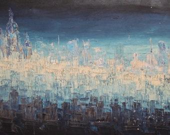 1983 Modernist Landscape Oil Painting Signed