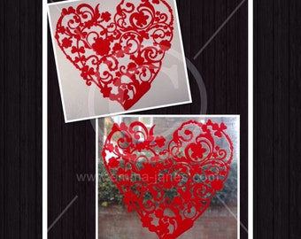 Heart window cling, beautifully detailed, for glass & window areas, reusable faux stained glass effect decal, static cling suncatcher decals