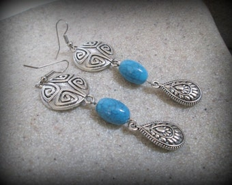 Boucle d'oreille turquoise-spike balancent boucle d'oreille boucle d'oreille-tribal-gypsy antique boucle d'oreille argent ethnique-boucle d'oreille boucle d'oreille-boho boucle d'oreille