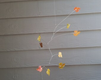 Calder inspired kinetic mobile distressed brass maple leaves fall colors