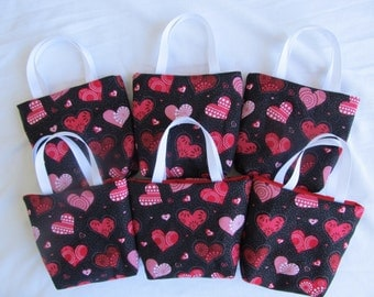 Set of 6 Valentine's Day Fabric Gift Bags/ Party Favor Bags/ Valentine Goody Bags- Red and Pink Hearts on Black