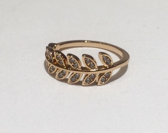 Rose Gold Leaf Ring with Crystals