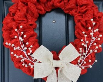 Red Burlap Wreath, Merry Christmas Wreath, Rustic Wreath, Red and White Wreath, Holiday Wreath, Simple Red Wreath