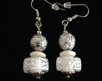 No.163 Silver and White Patterned Bead Earrings