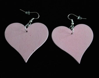 No.702 Large Wooden Pink Heart Earrings