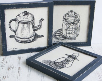 Framed Picture Set, Antique Style Print, Rustic Wood Sign, Kitchen Wall Art, Antique Kitchen Decor, Gift For Her, Kitchen Wood Sign
