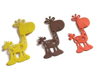 12 Giraffe Cut Outs in Brown, Yellow, Orange, Animal theme party decoration, Zoo theme party, Giraffe Die Cuts, Baby Shower Giraffes