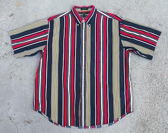 Vintage Robinson's Stripe Short Sleeve Button UP Sz. XL