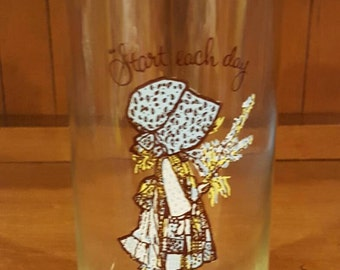 1972 Hollie Hobbie American Greetings Glass Jar/Container with lid made by Federal Glass Co.