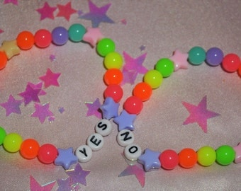 "Colorful Neon ""YES/NO"" Bracelets (Pair)"