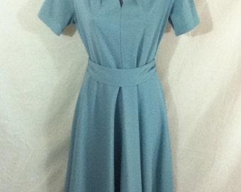 """1960s Blue Mod Keyhole Sweetheart Swing Secretary Stewardess Dress W Belt 37"""" Bust Removable Necktie"""