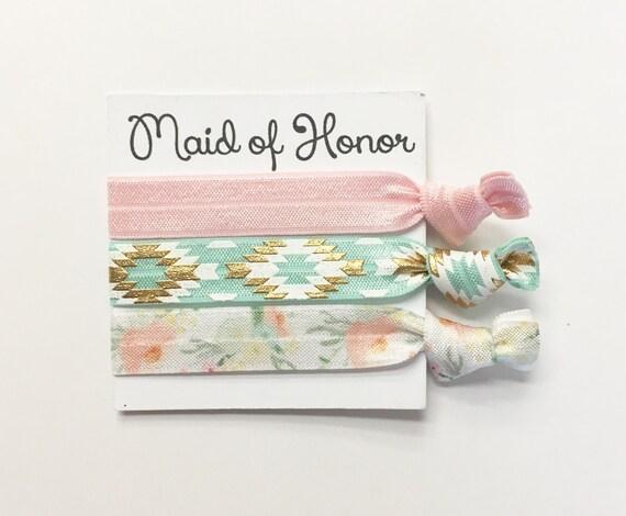 Bridesmaid hair tie favors// bridesmaid hair ties, hair tie card, wedding, bride, bachelorette party, party favor, birthday party