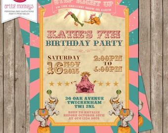 Printable Retro Trapeze Circus Party Invitation
