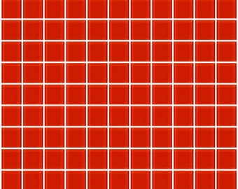 1-inch tomato red glass tile (J1508)