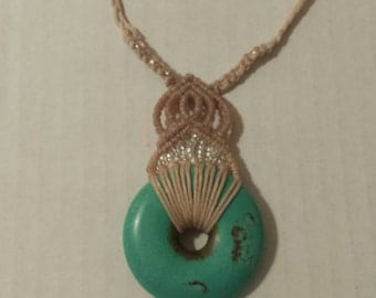 Turquoise & Glass Macrame Necklace