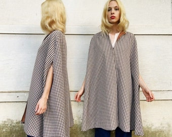 MOVING SALE Vintage 60s Brown + White Mini Checkered Polyester Hook Front Long Cape One Size