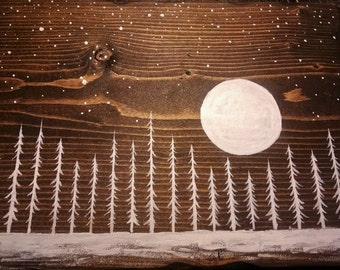 Wood Wall Art, Winter Night Painting, Forest Painting, Full Moon Painting