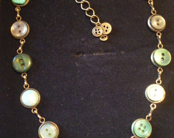 Shades of Green Vintage Button Necklace