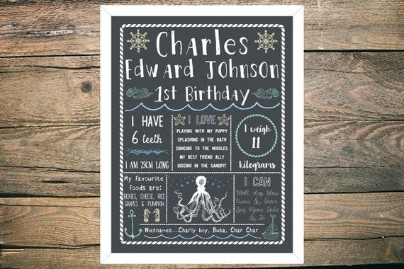 Personalised First/1st Birthday Chalkboard - Boy - 11x14 inch - Printable - Ocean Sea Theme
