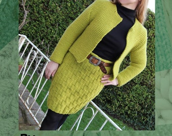 Chanel Style Jacket & Zig Zag Skirt Hand Knitting Patterns - Double Pattern Offer