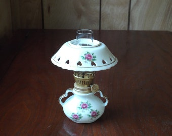 Vintage Miniature Oil Lamp; Floral Design Miniature Oil Lamp
