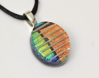 Art Glass Pendant, Dichroic Glass, Artisan Necklace, Fused Glass Pendant, Woman's Necklace, Handmade, One Of A Kind, Made in USA