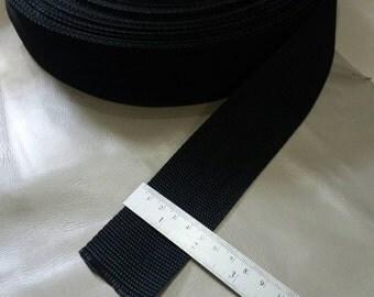 5 Yards, 2 inch. (5 cm.) Polypropylene Webbing, Black, Key Fobs, Bag Straps, Purses Straps, Belts, Tote Bag Handle