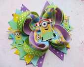 Hair clip bow Minions stacked bow Despicable Me hair clip Girls hair accessories Layered bow Girls french barrette Kids birthday party