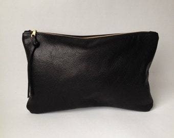 Large Black Leather Clutch with Brass Zipper