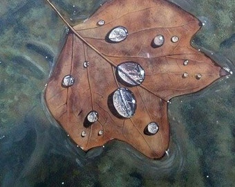 Autumn Leaf Painting, Brown Leaves, Waterdrops, Original Acrylic Painting