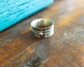 Spinner Ring, Sterling Silver Ring, Sterling Silver Spinner Ring, Thick Silver Ring, Hammered Ring
