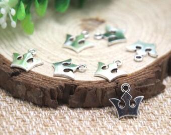 50pcs mini crown Charms Antique Silver Tone crown charm pendants 12x13mm D1663