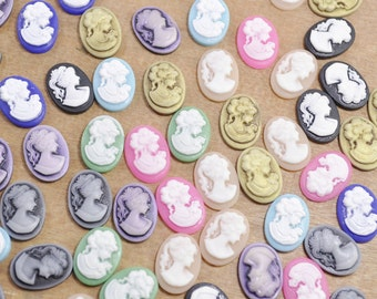 50pcs Mixed color resin lady oval cameo cabochons,resin Beauty Lady charm pendant - 18x13mm.
