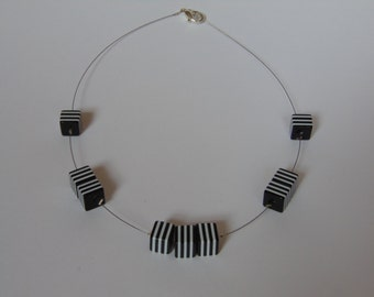Black and white square beaded necklace