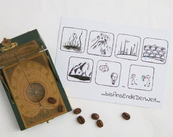post card ...toTheEndOfTheWorld..., greeting card, A6, handdrawn picture story