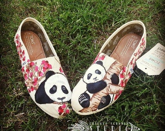 Custom Hand Painted Pandas and Cherry Blossom Trees TOMS shoes | panda shoes | panda toms | cherry blossoms | custom toms | japanese | japan