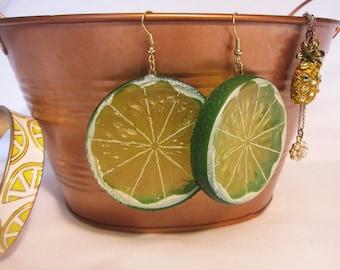 Lime Slice Earrings, Fruit Earrings, Large Earrings