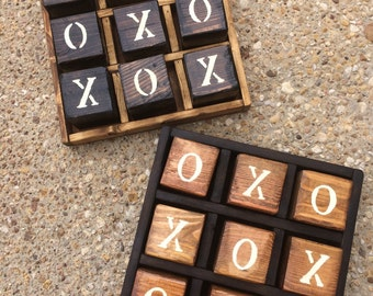 Rustic Yard-sized Texas Tic-Tac-Toe Game with caddy