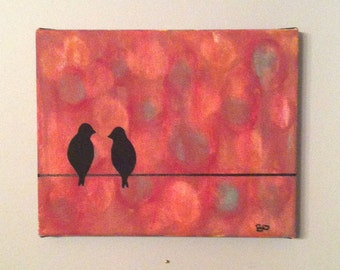 "Original, acrylic ""Bird on a wire"" painting"