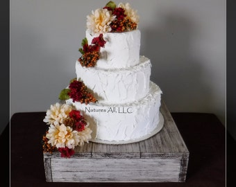 """14"""" Rustic Wedding Cake Stand-Weathered Ivory/Country Farmhouse/ Wedding Decor/Rustic Cake Stand/Shipping Included:Item# CS-4214"""