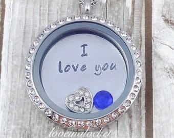 I Love You Locket, Floating Locket, Love Locket, I Love You Necklace, Love Necklace, Hand Stamped Locket, Gift for Mom, Grandma, Daughter
