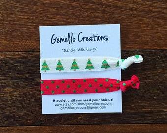 Christmas Stocking, Hair Ties, Christmas Stocking Stuffers, Hair Tie Bracelets, Christmas