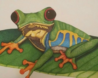 Pointillism ink frog