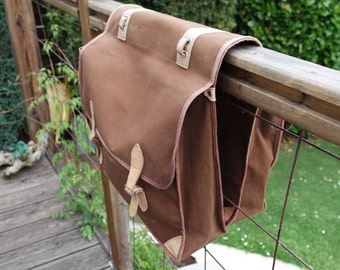 Canvas and leather bike panniers/sadlebags