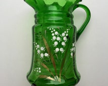 Vintage Lilly of the valley green Jug.