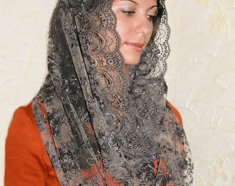Gray veil infinity veil lace mantilla traditional catholic infinity mantilla religious head coverings catholic chapel mantilla chapel veil