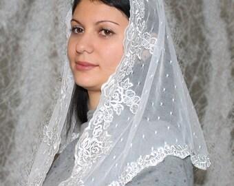 White  church veil traditional catholic orthodox veils religious head coverings white mantilla lace mantilla latin mass veil catholic veil