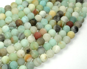 Matte Amazonite Beads, 6mm Round Beads, 15.5 Inch, Full strand, Approx 65 beads, Full strand, Hole 1 mm, A quality (111054026)