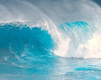 art print, wall decor, ocean photography, waves, beach decor, surf picture, turquoise, aqua, teal, nautical decor, blue ocean, wave curl art