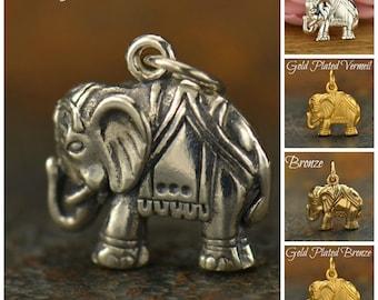 Sterling Silver, Elephant Charm, Elephant Necklace, Silver Elephant, Elephant Jewelry, Elephant Pendant, Gold Elephant, Elephant Lover